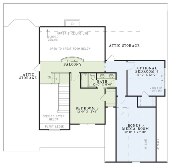 Craftsman Floor Plan - Upper Floor Plan Plan #17-2160
