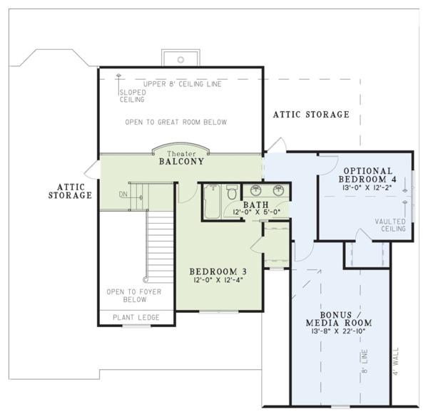 Craftsman Floor Plan - Upper Floor Plan Plan #17-2160