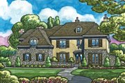 European Style House Plan - 5 Beds 7 Baths 7004 Sq/Ft Plan #20-2167 Exterior - Front Elevation