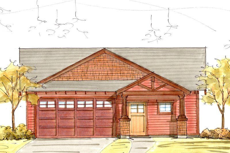 Craftsman Style House Plan - 3 Beds 2 Baths 1596 Sq/Ft Plan #895-40 Exterior - Front Elevation