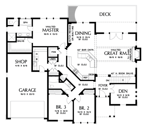 House Plan Design - Craftsman Floor Plan - Main Floor Plan #48-670