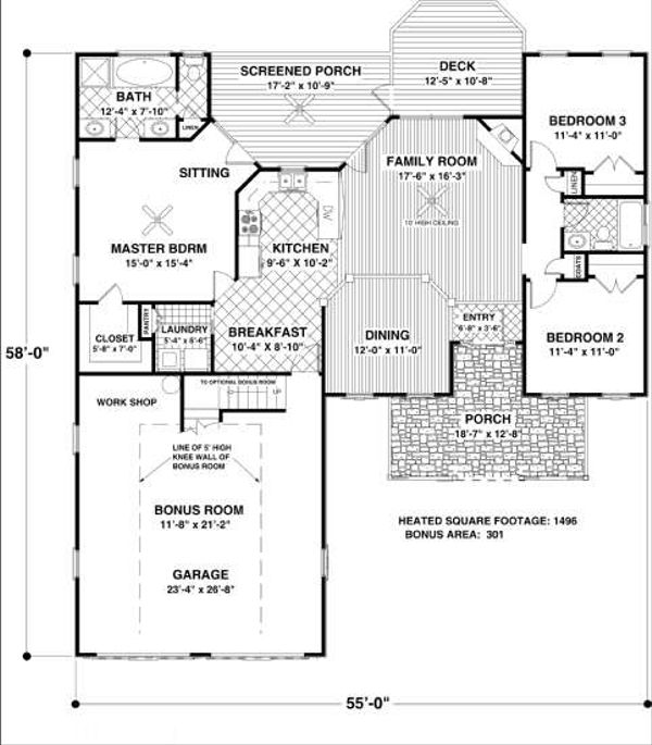 Country Floor Plan - Main Floor Plan Plan #56-548