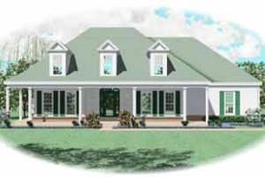 Southern Exterior - Front Elevation Plan #81-242