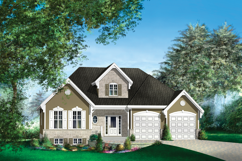 Traditional Style House Plan - 1 Beds 1 Baths 1566 Sq/Ft Plan #25-4444 Exterior - Front Elevation