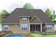 European Style House Plan - 5 Beds 3 Baths 2845 Sq/Ft Plan #929-1022 Exterior - Rear Elevation