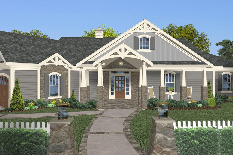 Architectural House Design - Craftsman Exterior - Front Elevation Plan #56-717