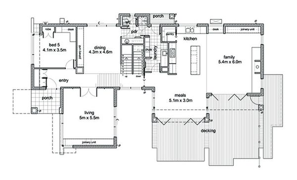 Modern Floor Plan - Main Floor Plan Plan #496-1