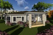 Ranch Style House Plan - 3 Beds 2.5 Baths 1800 Sq/Ft Plan #70-1266 Exterior - Rear Elevation