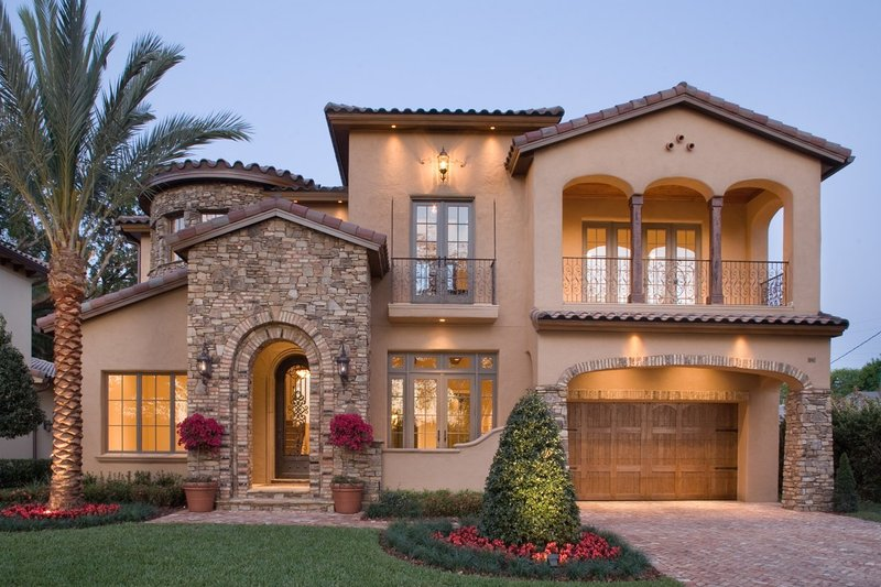 Mediterranean Style House Plan - 4 Beds 3.5 Baths 4923 Sq/Ft Plan #135-166 Exterior - Front Elevation