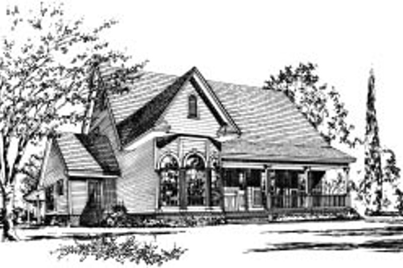 Traditional Style House Plan - 4 Beds 3 Baths 2060 Sq/Ft Plan #37-173 Exterior - Front Elevation