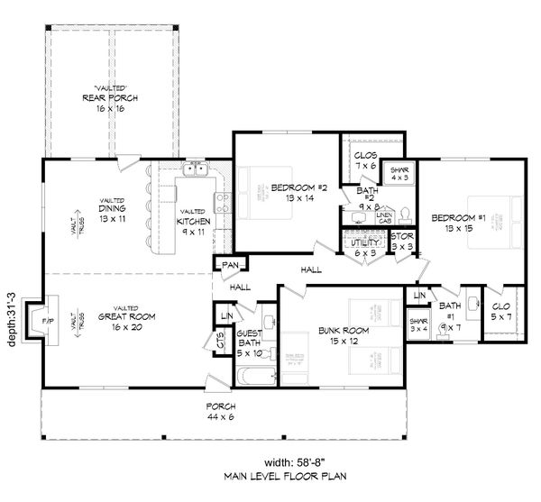Dream House Plan - Country Floor Plan - Main Floor Plan #932-76