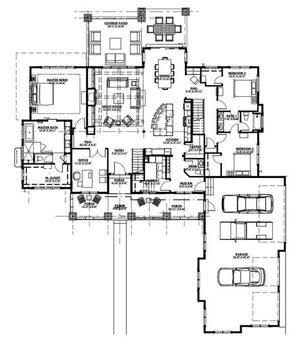 Craftsman Floor Plan - Main Floor Plan Plan #1069-12