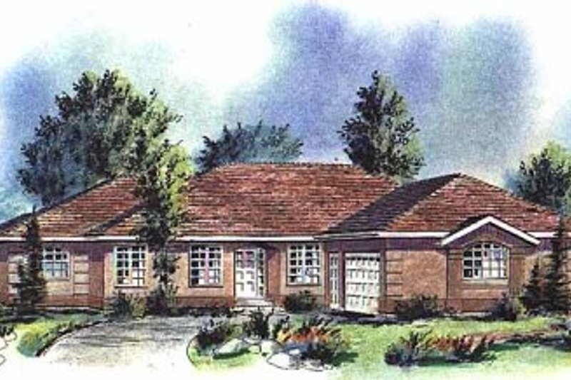 Ranch Style House Plan - 3 Beds 2 Baths 1850 Sq/Ft Plan #18-152 Exterior - Front Elevation
