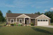 Ranch Style House Plan - 4 Beds 2.5 Baths 1732 Sq/Ft Plan #1064-42 Exterior - Front Elevation
