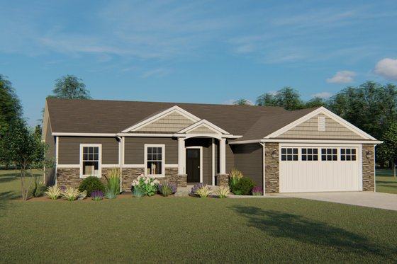 Ranch Exterior - Front Elevation Plan #1064-42
