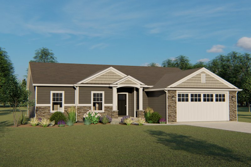 Architectural House Design - Ranch Exterior - Front Elevation Plan #1064-42