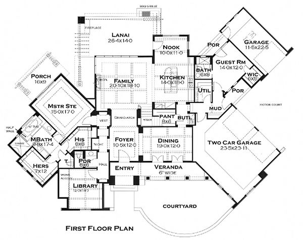 Main Level Floor Plan - 3200 square foot European home