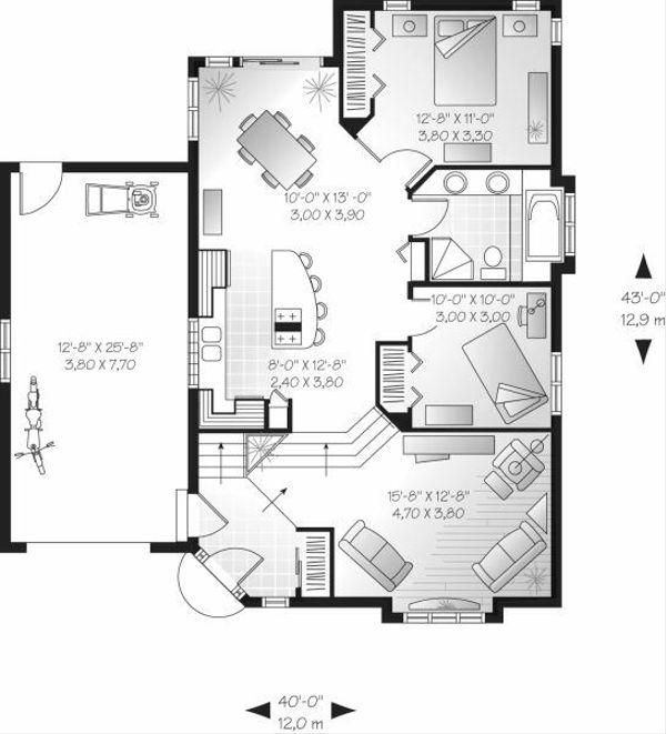 European Floor Plan - Main Floor Plan Plan #23-708