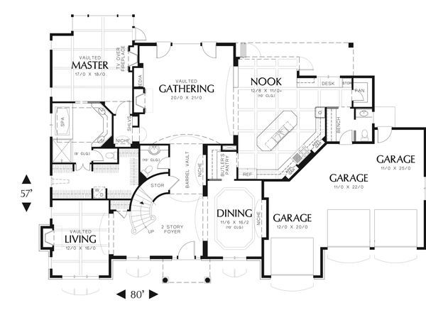 European Floor Plan - Main Floor Plan Plan #48-618