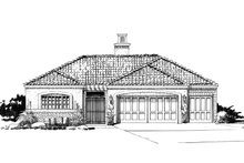 Adobe / Southwestern Exterior - Front Elevation Plan #942-48