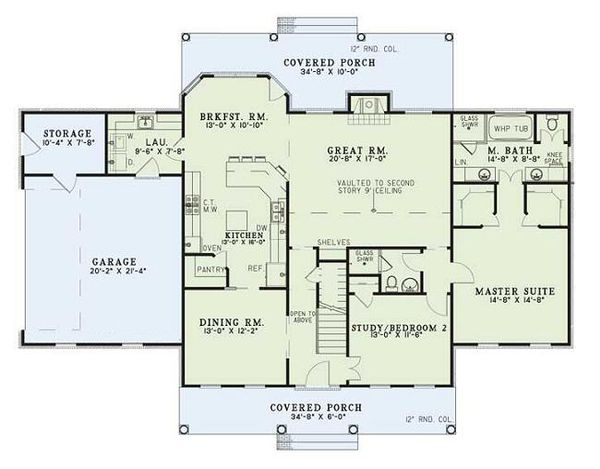 Country Floor Plan - Main Floor Plan Plan #17-205