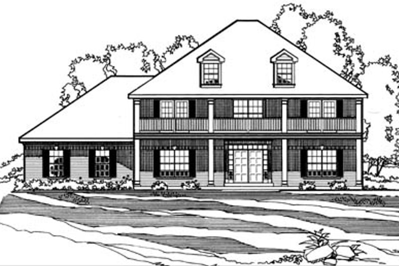 Southern Style House Plan - 3 Beds 3 Baths 2726 Sq/Ft Plan #31-131 Exterior - Front Elevation