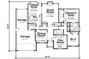 Traditional Style House Plan - 2 Beds 2 Baths 1996 Sq/Ft Plan #20-2419 Floor Plan - Main Floor