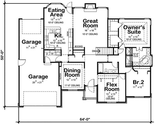 Traditional Floor Plan - Main Floor Plan #20-2419