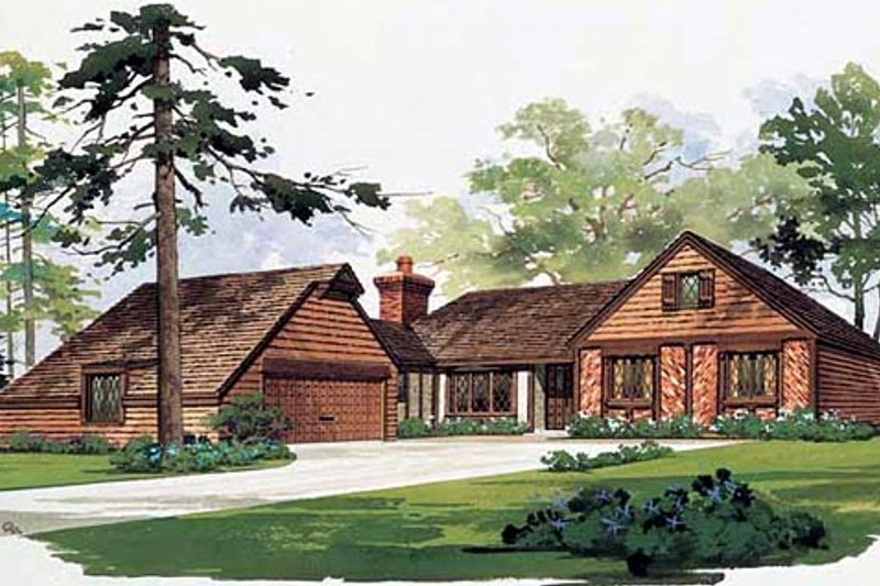 Traditional Style House Plan - 3 Beds 2.5 Baths 1499 Sq/Ft Plan #72-443 Exterior - Front Elevation