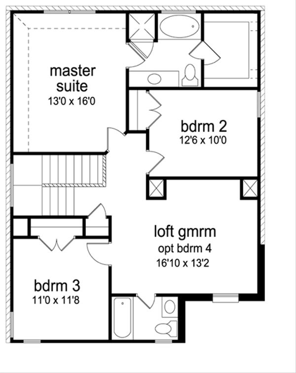 Traditional Floor Plan - Upper Floor Plan Plan #84-554
