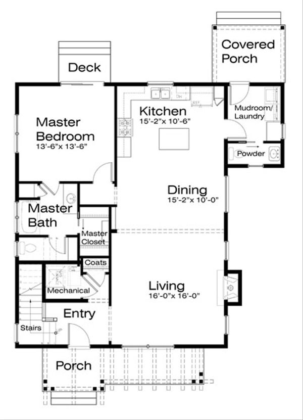 Craftsman Floor Plan - Main Floor Plan Plan #434-13