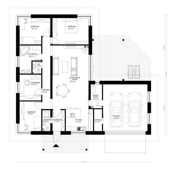 Bungalow Floor Plan - Main Floor Plan Plan #906-13