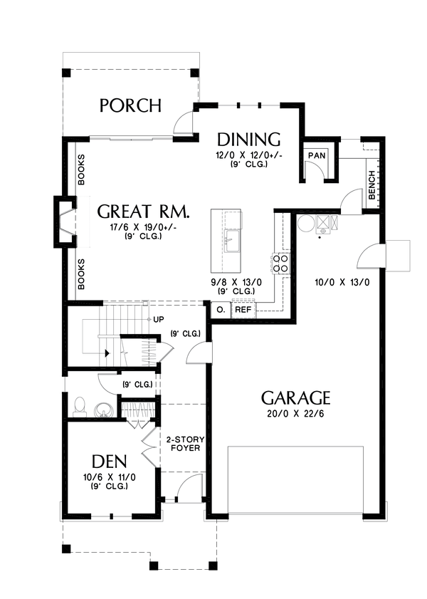 Contemporary Floor Plan - Main Floor Plan #48-1035