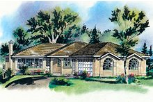 House Plan Design - Southwester Ranch Style home, front elevation