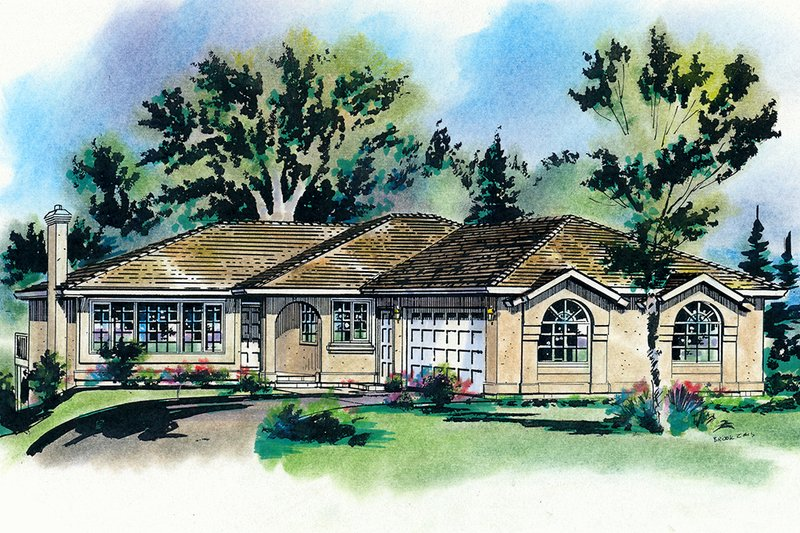House Blueprint - Southwester Ranch Style home, front elevation