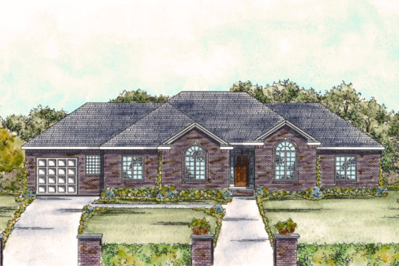 Architectural House Design - Traditional Exterior - Front Elevation Plan #20-1716