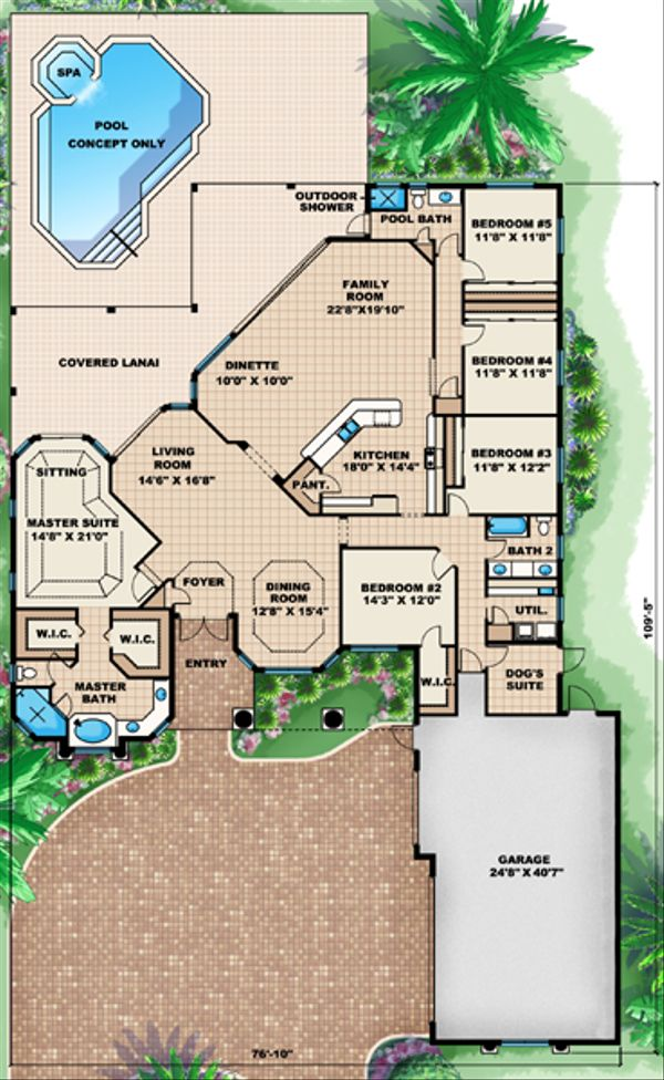 Mediterranean Floor Plan - Main Floor Plan Plan #27-419