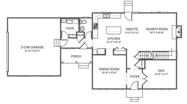 Colonial Floor Plan - Main Floor Plan Plan #446-2