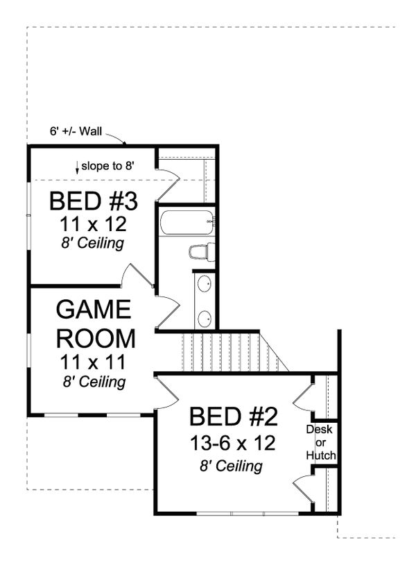 Traditional Floor Plan - Upper Floor Plan Plan #513-2081