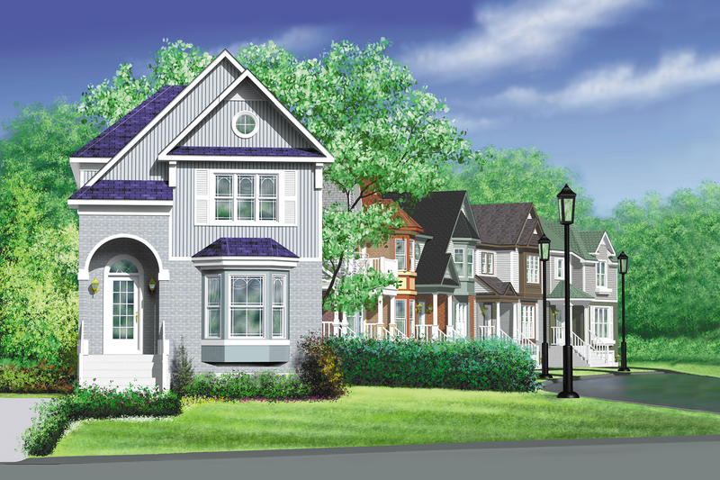 Victorian Style House Plan - 2 Beds 1.5 Baths 1372 Sq/Ft Plan #25-203 Exterior - Front Elevation