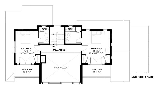 Modern Floor Plan - Upper Floor Plan Plan #1042-20