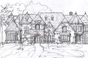 Tudor Style House Plan - 5 Beds 6.5 Baths 7632 Sq/Ft Plan #141-281 Exterior - Front Elevation