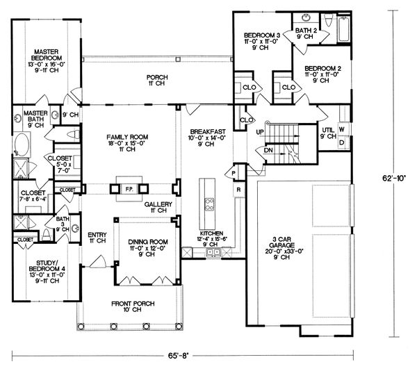 Craftsman Floor Plan - Main Floor Plan Plan #20-164