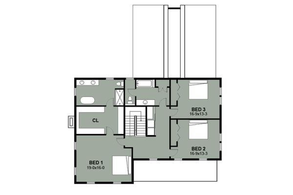 Farmhouse Floor Plan - Upper Floor Plan Plan #497-15