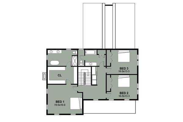 Farmhouse Floor Plan - Upper Floor Plan Plan #497-15