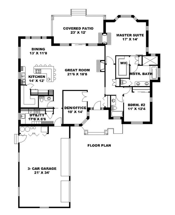 Ranch Floor Plan - Main Floor Plan Plan #117-872