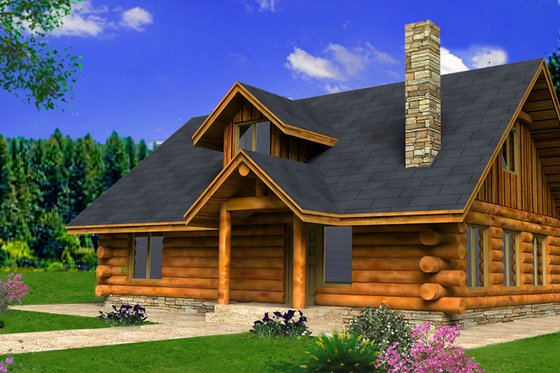 Architectural House Design - Log Exterior - Front Elevation Plan #117-824