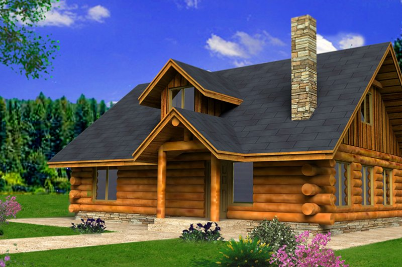 Home Plan - Log Exterior - Front Elevation Plan #117-824