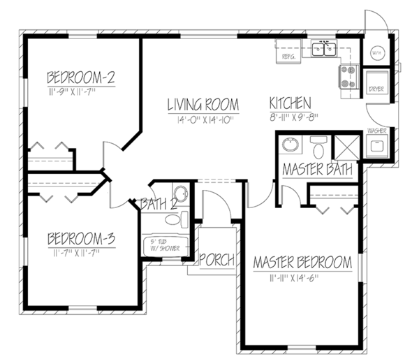 Ranch Floor Plan - Main Floor Plan Plan #1061-18