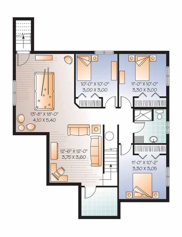 Country Floor Plan - Lower Floor Plan Plan #23-2517